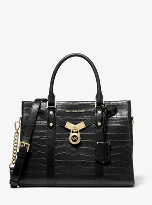 MICHAEL Michael Kors Nouveau Hamilton Large Crocodile Embossed Leather Satchel