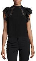 Rebecca Taylor Lace-Trim Cap-Sleeve Crepe Top