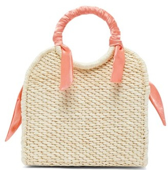 Sensi Studio - Mini Silk-trimmed Straw Basket Bag - Womens - Coral