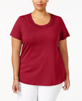 Karen Scott Plus Size Cotton Braided-Trim Top, Only at Macy's