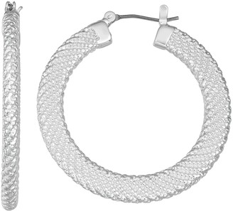 Dana Buchman Silver Tone Textured Hoop Earrings