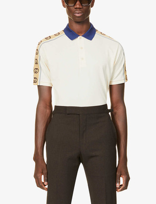 Gucci GG embroidered stretch-cotton polo shirt