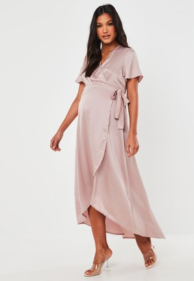 Missguided Pink Satin Wrap High Low Maternity Maxi Dress