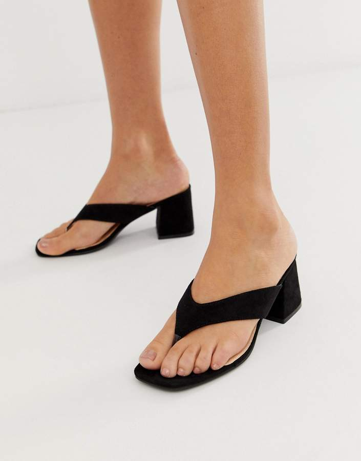 adf5f87f2f3 Because toe post block heeled mules