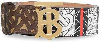 Burberry Monogram Stripe E-canvas and Leather Belt