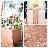 14''x108'' Royal Rose Gold Sequin Table Runner, Sequin Table Cloth, Sequin Tablecloths, Sequin Linens