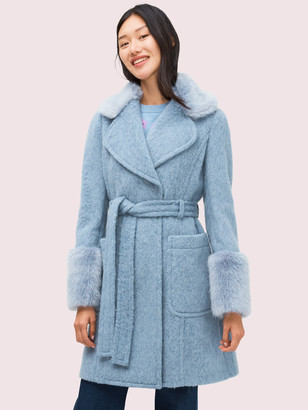 Kate Spade Fluffy Tie-Waist Coat