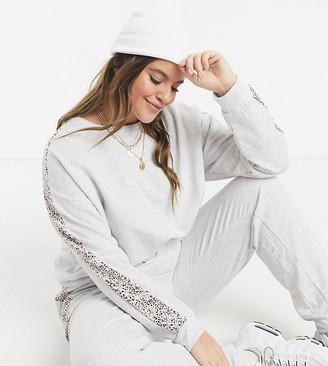 New Look Plus New Look Curve co-ord animal-print sweatshirt in light grey