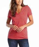 Nautica Women's Easy Comfort V-Neck Striped Supersoft Stretch Cotton T-Shirt