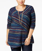 NY Collection Plus Size Striped Asymmetric Knit Top