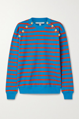 Derek Lam 10 Crosby Lucie Button-embellished Striped Cotton Sweater - Blue
