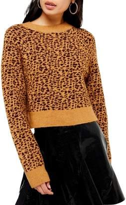 Topshop Micro Animal-Print Crop Sweater