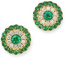 Bloomingdale's Emerald & Diamond Stud Earrings in 14K Yellow Gold - 100% Exclusive