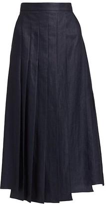 Brunello Cucinelli Pleated Multi Slit Chambray Skirt