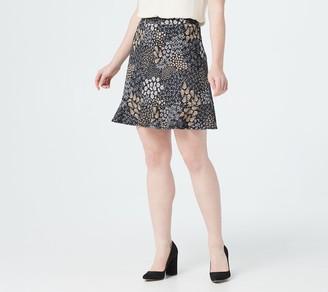 Isaac Mizrahi Live! Mixed Ditsy Floral Pebble Knit Skort