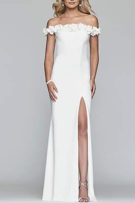 Faviana Long off-shoulder stretch crepe dress