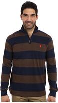 U.S. Polo Assn. Striped Rib Mock Neck 1/4 Zip Pullover
