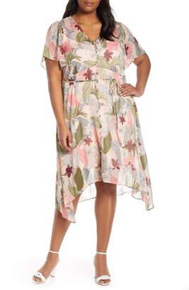Estelle Havana Floral Handkerchief Hem Dress