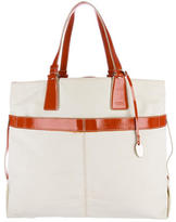 Tod's Patent Leather-Trimmed Tote