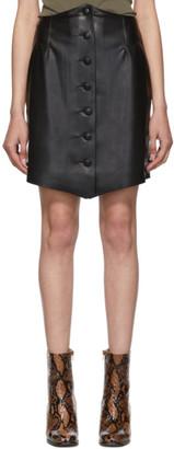 Nanushka Black Vegan Leather Sils Button Front Miniskirt