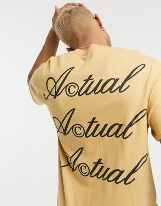 ASOS Actual T-shirt with back logo print in mustard