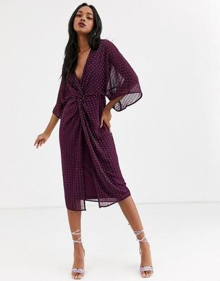 Asos Design DESIGN kimono midi dress in linear sequin