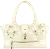 Burberry Manor White Leather Quilted Tote Shoulder Bag Handbag