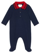 Gucci Infant Boy's Stripe Collar Footie
