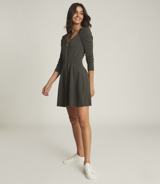 Reiss Mckenzie - Zip Through Knitted Dress in Green