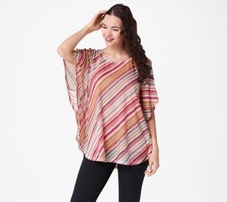 Susan Graver Striped Sweater Knit Scarf Top Knit Tank Set
