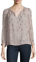 Joie Mauro Long-Sleeve Metallic-Trim Silk Blouse, Dusty Mink