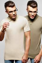 boohoo 2 Pack Short Sleeve Muscle Fit Polos multi