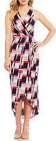 Adrianna Papell Halter Neck Sleeveless Faux-Wrap Printed Midi Dress