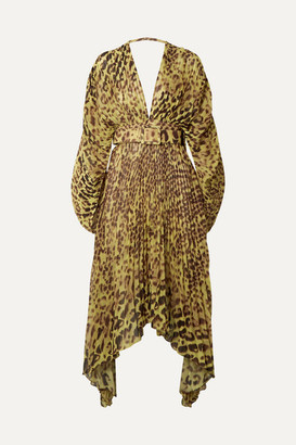 Adriana Degreas Asymmetric Belted Pleated Leopard-print Chiffon Dress - Leopard print