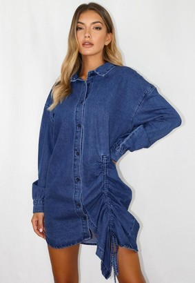 Missguided Blue Ruched Denim Shirt Dress