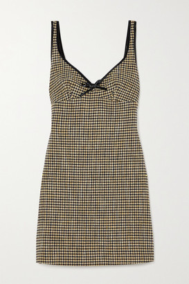 ALEXACHUNG Edwige Faux Patent Leather-trimmed Houndstooth Tweed Mini Dress - Camel