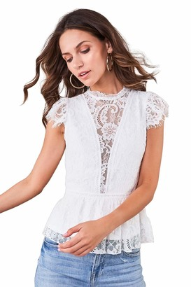 Sugar Lips Sugarlips Women's LACE Peplum Open Back Blouse