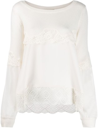 Twin-Set Tiered Lace Jumper