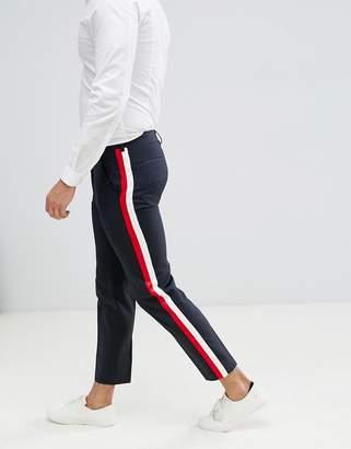ASOS Design DESIGN skinny crop smart trousers in 100% wool with side stripe