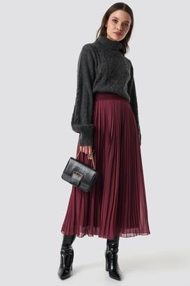 NA-KD Pleated Long Skirt Beige