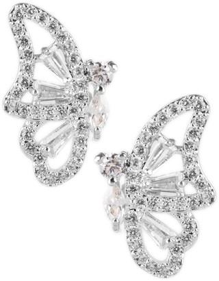 Cz By Kenneth Jay Lane Rhodium Plated CZ Accent Butterfly Stud Earrings