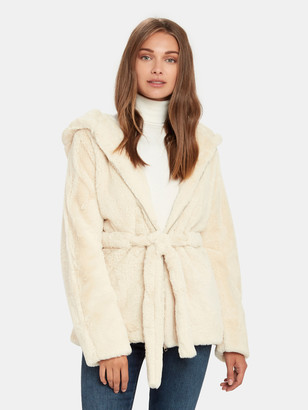 Moon River Faux Shearling Zip Up Hooded Jacket