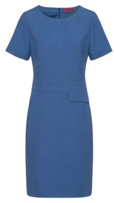 HUGO Short-sleeved dress with flap pocket at waist