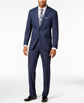 Kenneth Cole Reaction Men's Slim-Fit Navy Grid-Pattern Suit