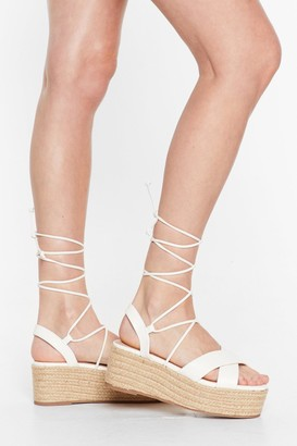 Nasty Gal Womens Tie Me Babe Lace-Up Platform Sandals - White - 3