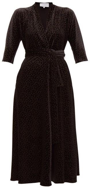 Luisa Beccaria Wrap Effect Polka Dot Print Velvet Midi Dress - Womens - Black Gold