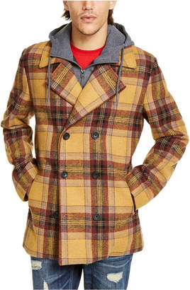 American Rag Men Sheridan Double-Breasted Plaid Peacoat with Removable Hooded Bib