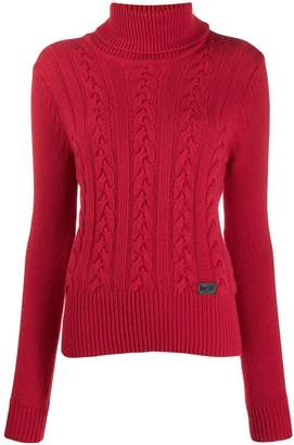 Blumarine Be Roll Neck Cable Knit Sweater