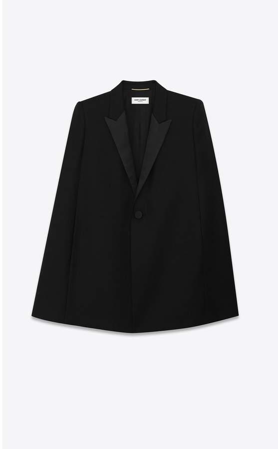 Tuxedo Cape In Wool Gabardine