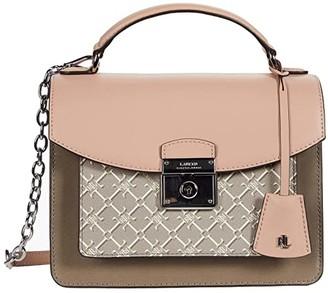 Lauren Ralph Lauren Heritage Lock Smooth Saffiano Logo Beckett 23 Satchel Medium (Mellow Pink/Taupe/Logo) Handbags